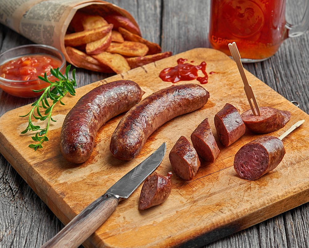Beer and Emmental cheese duck sausages